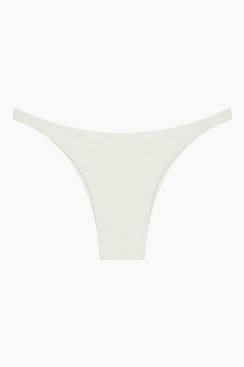 MIKOH Praia Modern Skimpy Side Bikini Bottom - Bone White Bikini Bottom | Bone White| Mikoh Praia Modern Skimpy Side Bikini Bottom - Bone White Features:   Low rise  Skimpy side straps  Skimpy coverage  Front View