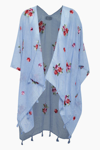 DAVID & YOUNG Woven Shawl W Floral Embroidery - Blue Cover Up | Blue| David & Young Woven Shawl W Floral Embroidery - Blue Shawl cover up  Flowy sleeves  Floral embroidery  Tassel ends  Front View