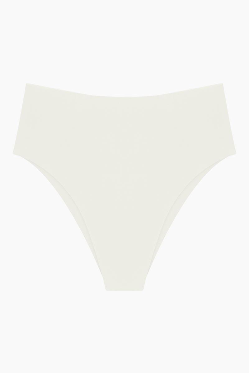 MIKOH Waikui High Cut Extra Skimpy Bikini Bottom - Bone White Bikini Bottom | Bone White| Mikoh Waikui High Cut Extra Skimpy Bikini Bottom - Bone White Features:   High waist  High cut leg  Skimpy coverage Front View