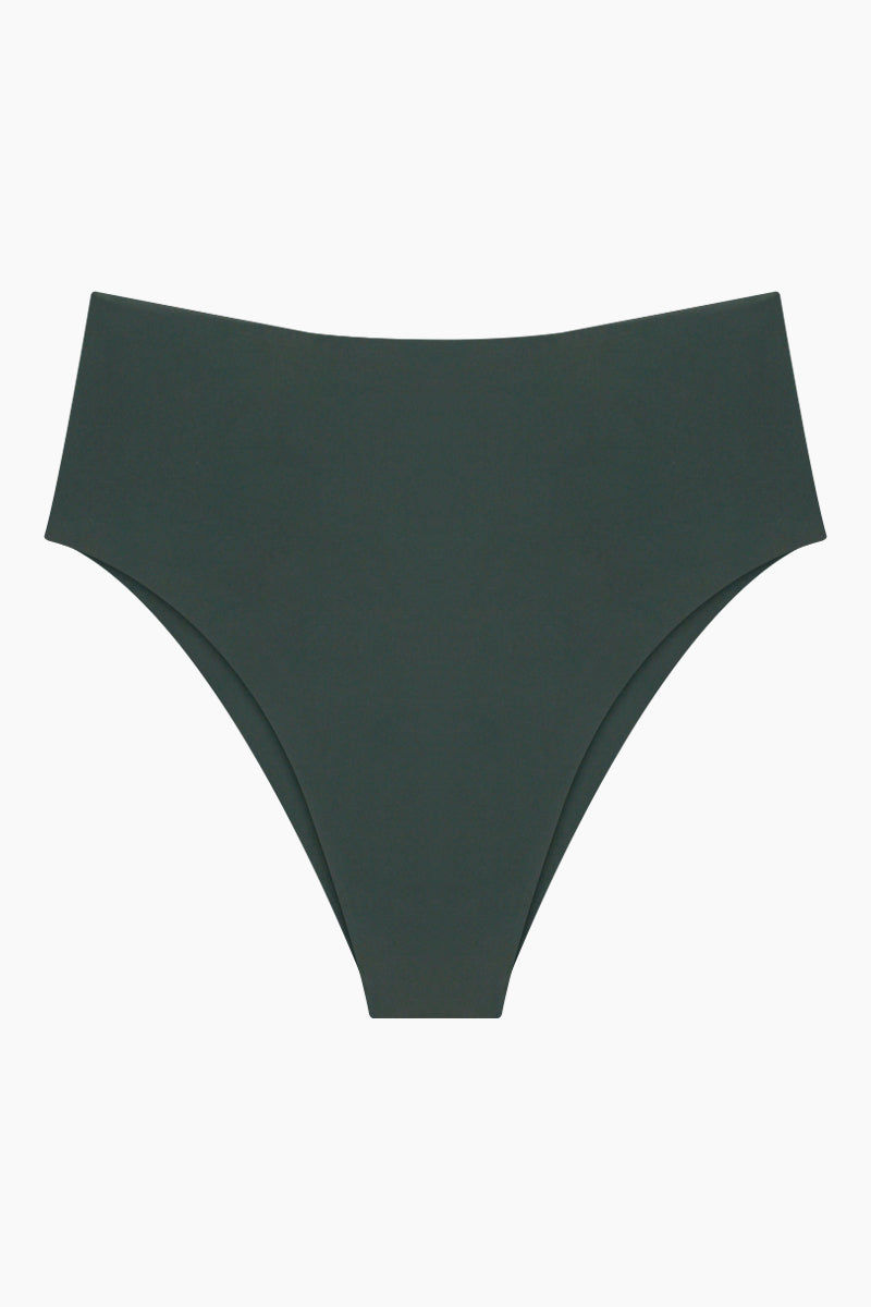 MIKOH Waikui High Cut Extra Skimpy Bikini Bottom - Wakame Green Bikini Bottom | Wakame Green| Mikoh Waikui High Cut Extra Skimpy Bikini Bottom - Wakame Green Features:   High waist  High cut leg  Skimpy coverageFront View