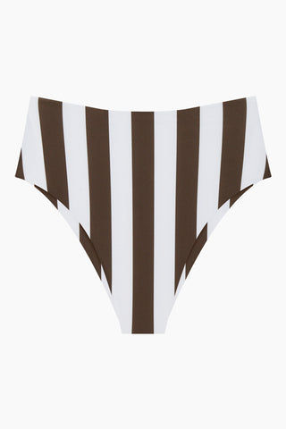 MIKOH Waikui High Cut Extra Skimpy Bikini Bottom - Retro Stripe Olive Print Bikini Bottom | Retro Stripe Olive Print| Waikui High Cut Extra Skimpy Bikini Bottom - Retro Stripe Olive Print Features:   High waist  High cut leg  Skimpy coverageFront View