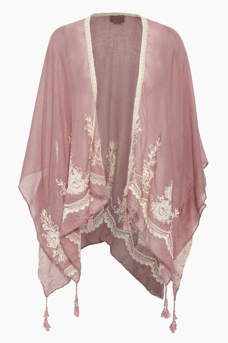 DAVID & YOUNG Solid Shawl W/ Floral Embroidery - Dusty Pink Cover Up   Dusty Pink  David & Young Solid Shawl W/ Floral Embroidery - Dusty Pink Shawl cover up  Flowy sleeves  Floral embroidery  Tassel ends  Front View