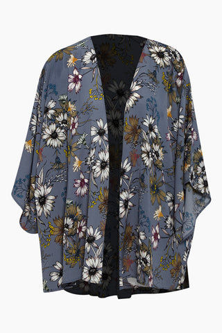DAVID & YOUNG Floral Shawl- Blue Floral Print Cover Up | Blue Floral Print | David & Young Floral Shawl- Blue Floral Print  Floral cover up  Flowy 3/4 sleeves Front View