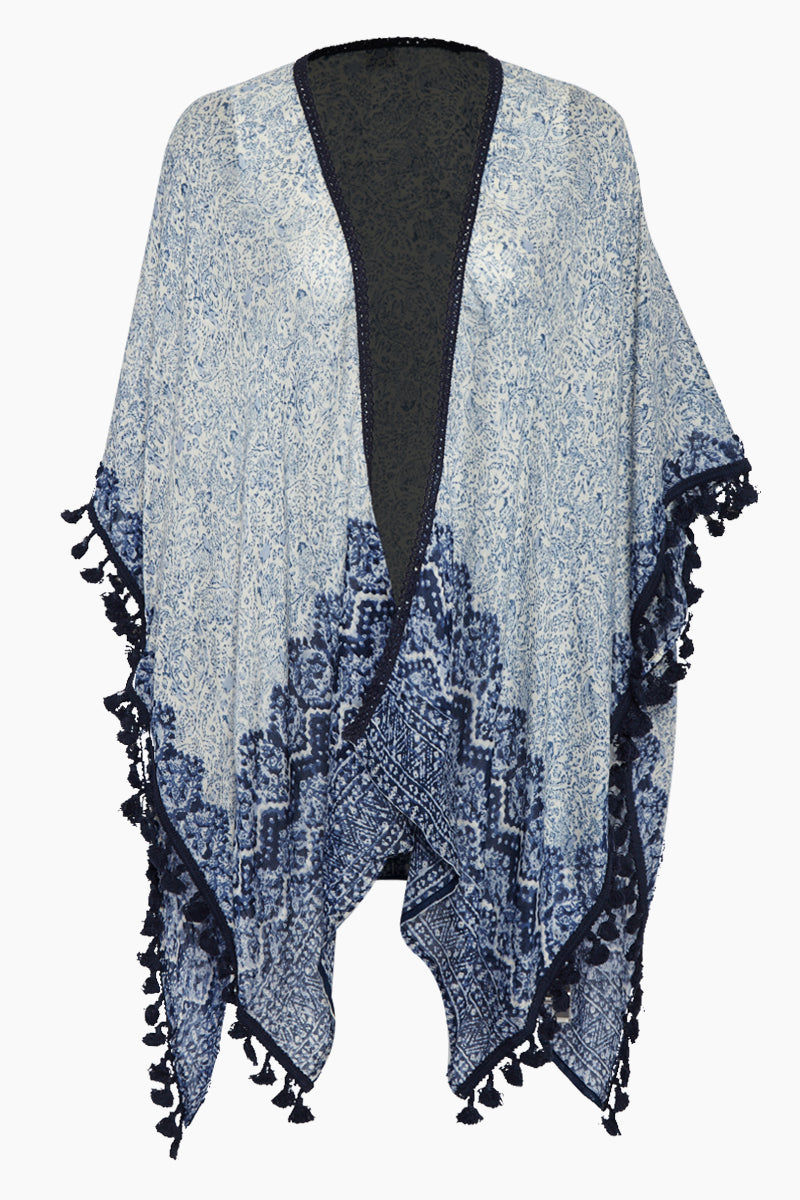 DAVID & YOUNG Shawl W/ Tassels - Blue Paisley Print Cover Up | Blue Paisley Print| David & Young Shawl W/ Tassels - Blue Paisley Print Shawl cover up  Tassel ends Front View