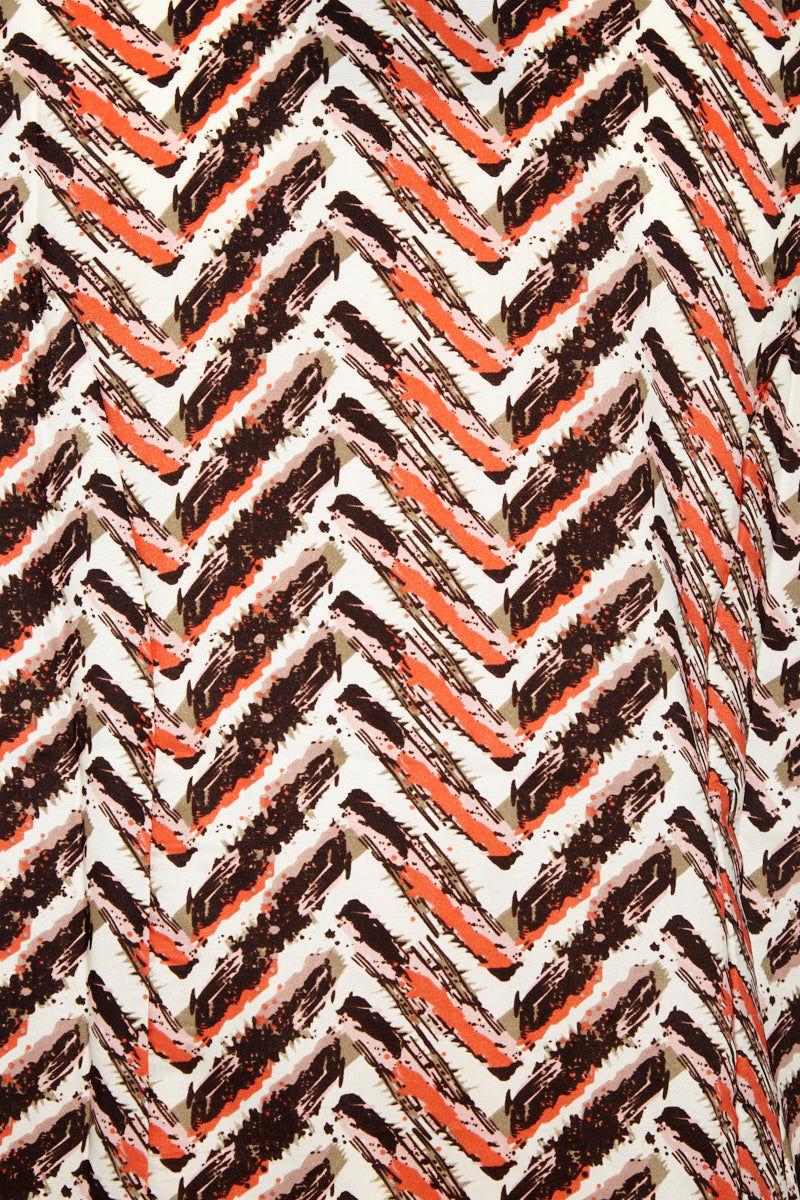 DAVID & YOUNG Sleeveless Shawl W/ Viscose Fringe - Camel Print Cover Up   Camel Print   David & Young Sleeveless Shawl W/ Viscose Fringe - Camel Print Sleeveless coverup Fringe trim Front View