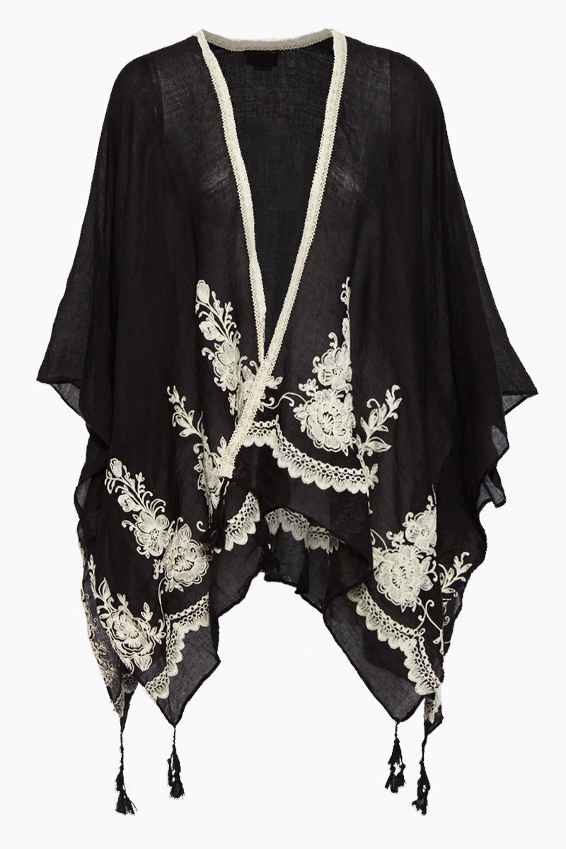 DAVID & YOUNG Solid Shawl W/ Floral Embroidery - Black Cover Up | Black| David & Young Solid Shawl W/ Floral Embroidery - Black Shawl cover up  Flowy sleeves  Floral embroidery  Tassel ends Front View