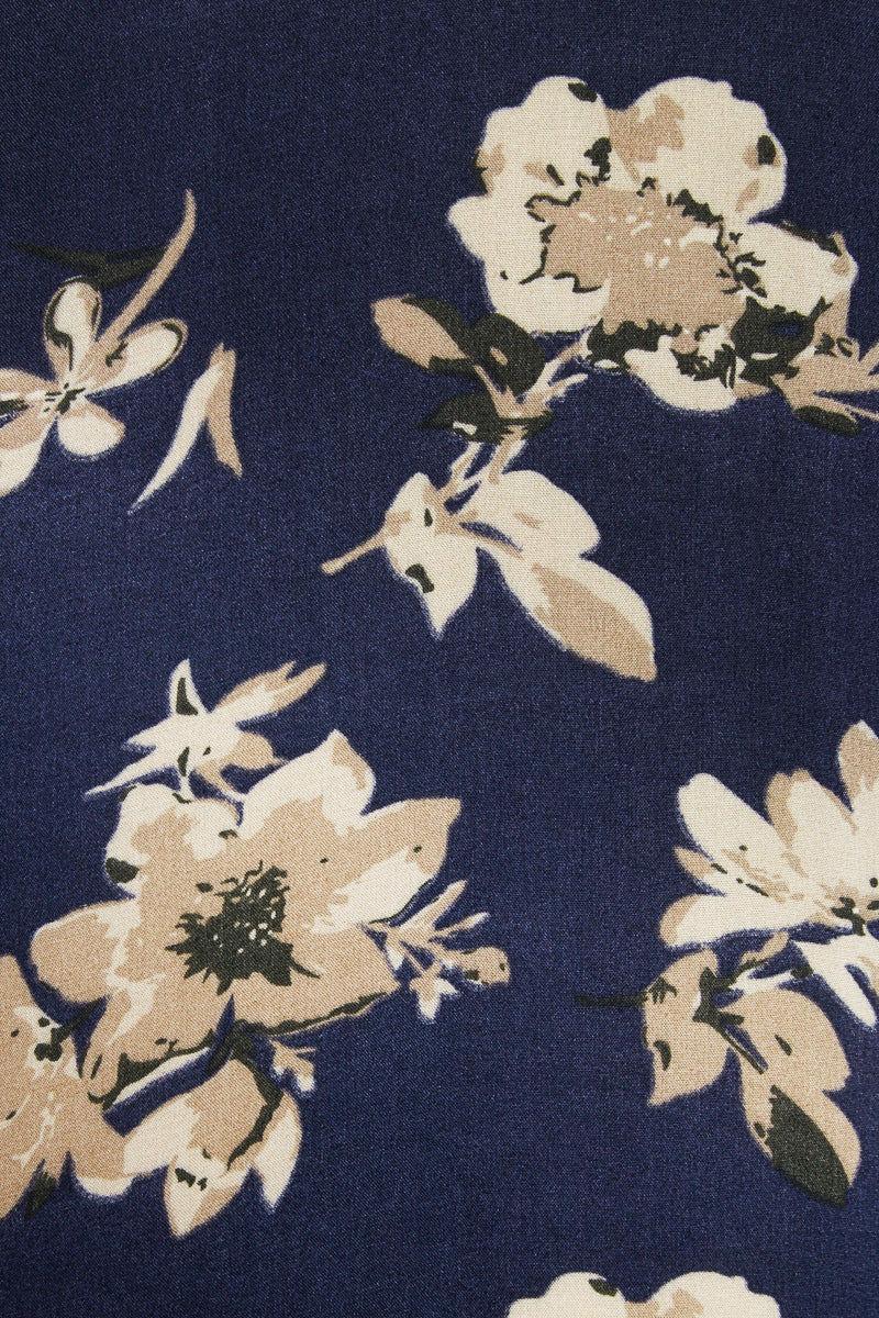 DAVID & YOUNG Floral Shawl w/ Tassels- Navy Floral Print Cover Up | Navy Floral Print| David & Young Floral Shawl - Mustard
