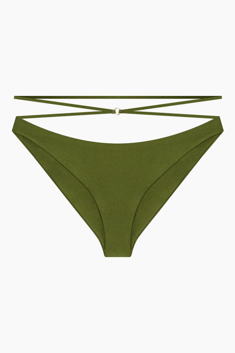 JADE SWIM Balance Criss Cross Strappy Hipster Bikini Bottom - Eden Green Bikini Bottom | Eden Green| Jade Swim Balance Criss Cross Strappy Hipster Bikini Bottom - Eden Green High waist criss cross detail  Hipster  Cheeky coverage Front View