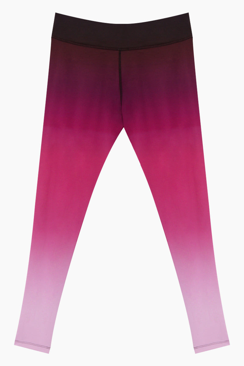 NYLORA Jordyn Mid Rise Leggings - Magenta Pink Ombre Print Pants | Magenta Pink Ombre Print| Nylora Jordyn Leggings - Magenta Pink Ombre Print leggings Elasticized banded waist  Ombre from dark to light pink  Front View