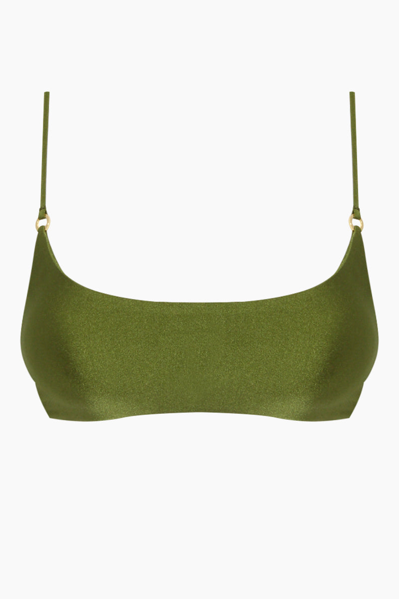 JADE SWIM Hinge Bralette Bikini Top - Eden Green Bikini Top | Eden Green| Jade Swim Hinge Bralette Bikini Top - Eden Green Scoop Neck Top Thin Spaghetti Straps Gold Ring Detail  Fits true to size Hand wash, lay flat to dry Chlorine, oil and cream resistant. Front View