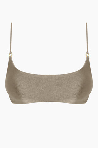 JADE SWIM Hinge Bralette Bikini Top - Pebble Brown Bikini Top | Pebble Brown| Jade Swim Hinge Bralette Bikini Top - Pebble Brown.Features: Scoop Neck Top Thin Spaghetti Straps Gold Ring Detail  Fits true to size Hand wash, lay flat to dry Chlorine, oil and cream resistant Front View