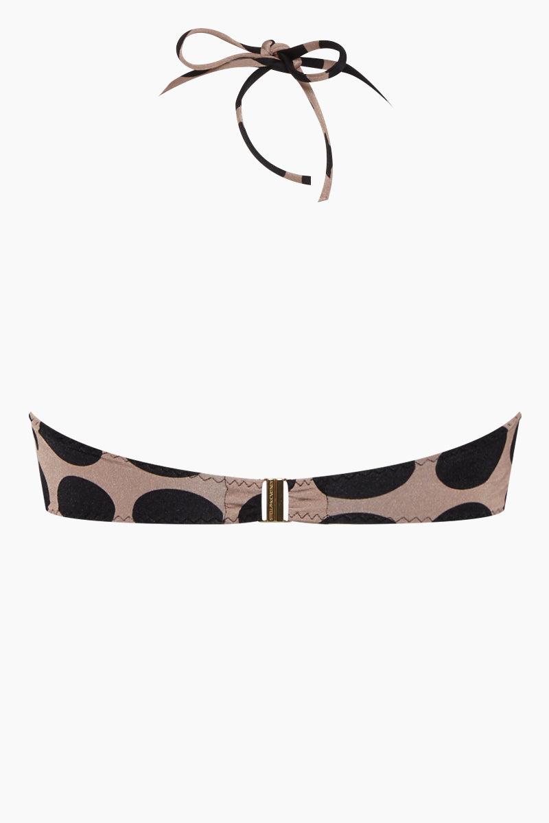 STELLA MCCARTNEY Ruched Bandeau Bikini Top - Ballet Dots Print Bikini Top | Ballet Dots Print| Stella McCartney Ruched Bandeau Bikini Top - Ballet Dots Print Bandeau style Strapless Removable halter straps Back View