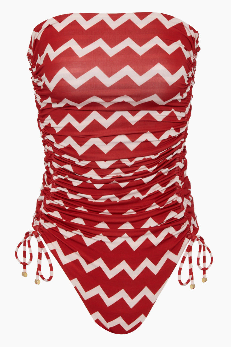 STELLA MCCARTNEY Strapless One Piece Swimsuit - Red/Cream Chevron Print One Piece | Red/Cream Chevron Print| Stella McCartney Strapless One Piece Swimsuit - Red/Cream Chevron Print Strapless one piece  Drawstring side scrunch ties  Back clasp closure Full coverage Front View