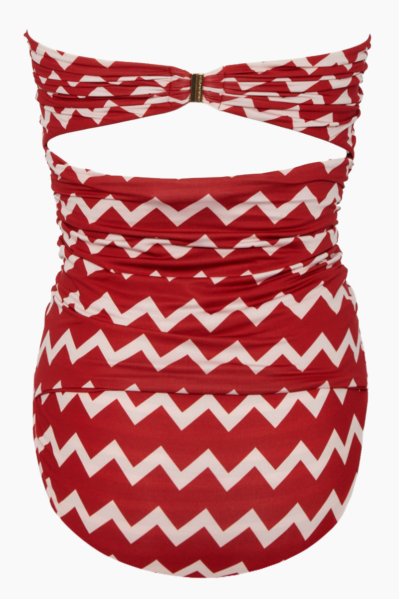 STELLA MCCARTNEY Strapless One Piece Swimsuit - Red/Cream Chevron Print One Piece | Red/Cream Chevron Print| Stella McCartney Strapless One Piece Swimsuit - Red/Cream Chevron Print Strapless one piece  Drawstring side scrunch ties  Back clasp closure Full coverage Back View