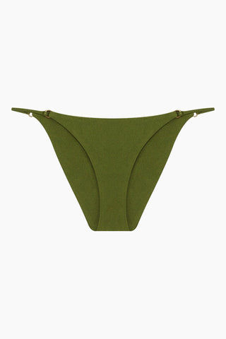 JADE SWIM Aria Thin Side Straps Bikini Bottom - Eden Green Bikini Bottom | Eden Green| Jade Swim Aria Thin Side Straps Bikini Bottom - Eden Green. Features:  Bare Minimum Bottom with Gold Ring Details Cheeky Coverage Hand wash, lay flat to dry Chlorine, oil and cream resistant. Front View