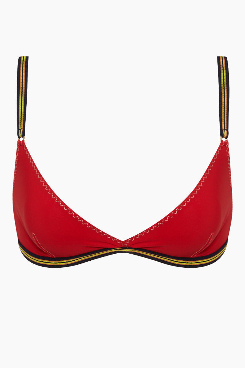 STELLA MCCARTNEY Bralette Mesh Triangle Bikini Top - Red Bikini Top | Red| Stella McCartney Bralette Mesh Triangle Bikini Top - Red Triangle bikini top  V neckline Mesh sides  Front View