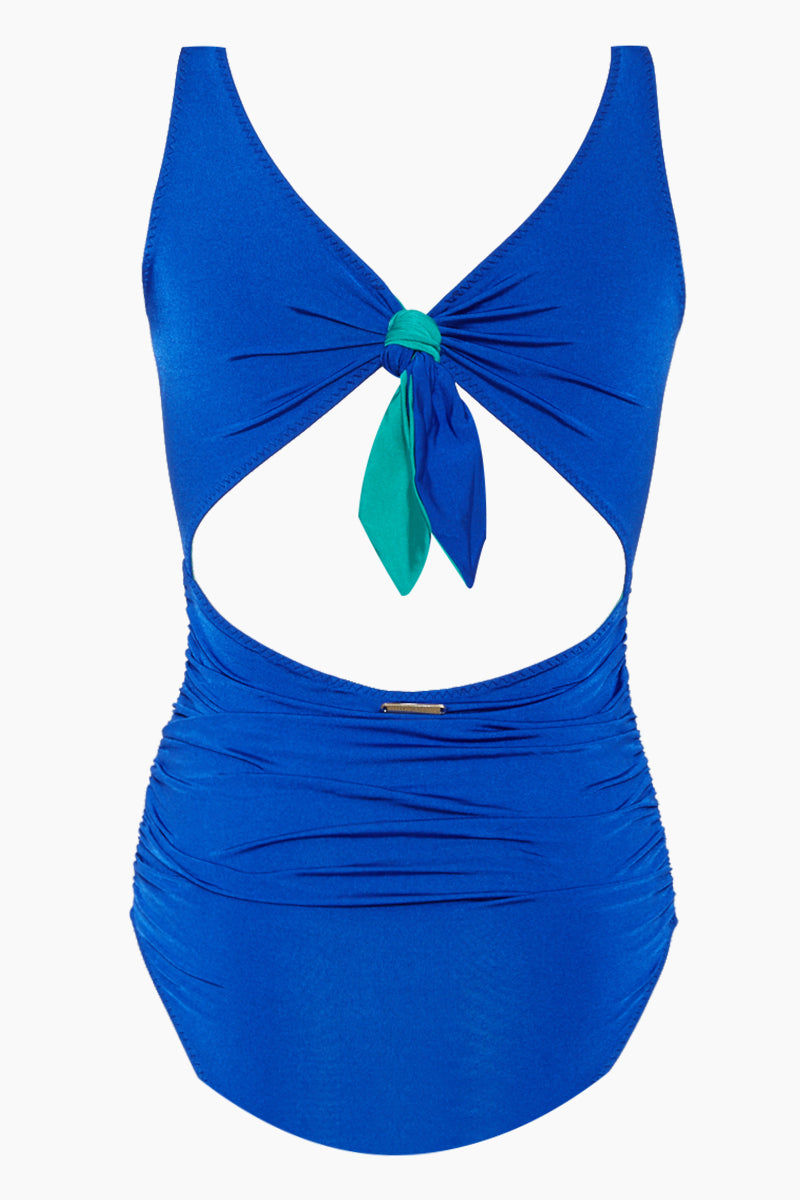 STELLA MCCARTNEY Wrapped One Piece Swimsuit - Royal Blue One Piece | Royal Blue| Stella McCartney Wrapped One Piece Swimsuit - Royal Blue V neckline  Shirred Front & back cut out  Back tie detail  Full coverage Back View