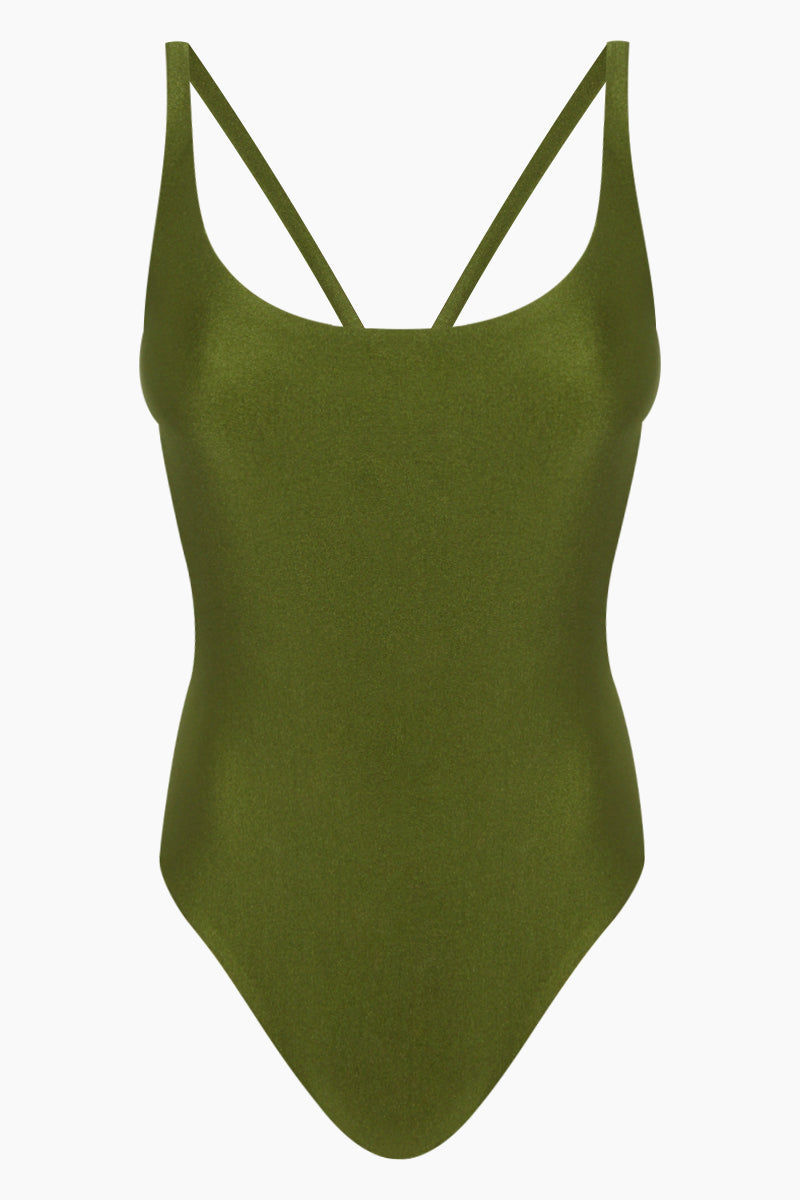 JADE SWIM Asterik Scoop Strappy Back One Piece Swimsuit - Eden Green One Piece | Eden Green| Jade Swim Asterik Scoop Strappy Back One Piece Swimsuit - Eden Green Features:  Scoop neck front, multi-strap back one piece with moderate bottom coverage Made in Los Angeles 78% NYLON, 22% Lycra Spandex Hand wash, lay flat to dry Chlorine, oil and cream resistant. Front View