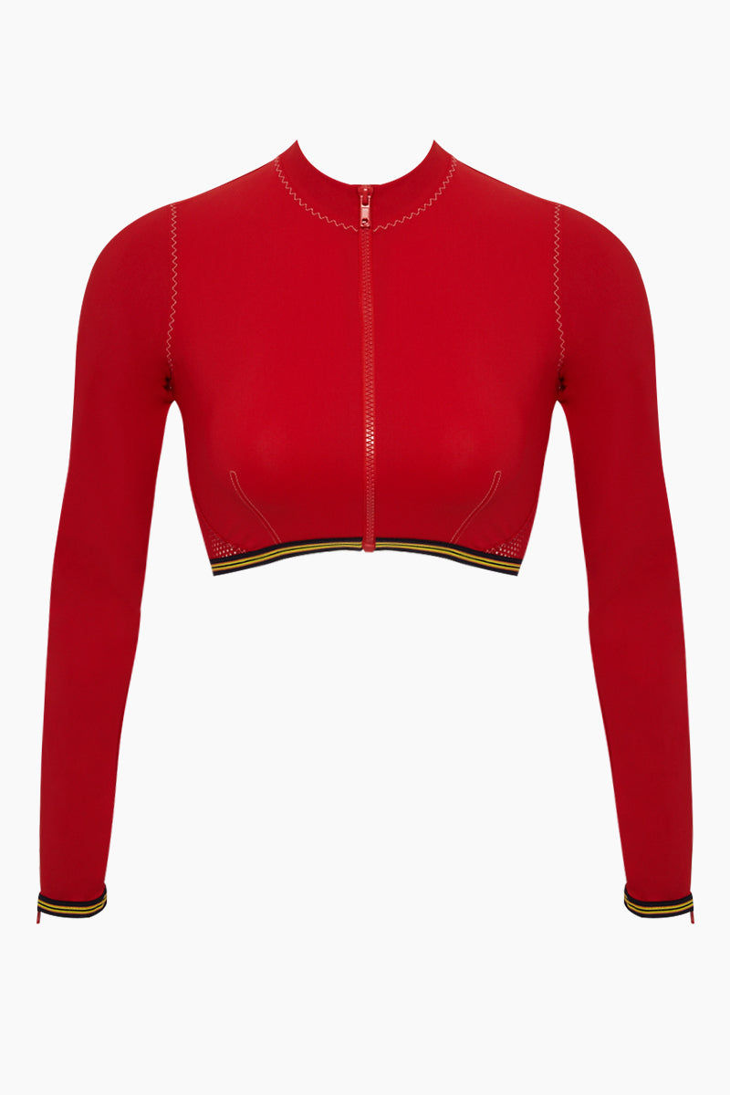 STELLA MCCARTNEY Long Sleeve Mesh Cropped Rashguard Bikini Top - Red Bikini Top   Red  Stella McCartney Stella McCartney Long Sleeve Mesh Cropped Rashguard Bikini Top - Red Crop top rashguard High neckline  Zip front closure Long sleeves Front View