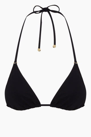 STELLA MCCARTNEY Classic String Triangle Bikini Top - Black Bikini Top | Black| Stella McCartney Triangle Bikini Top - Black Triangle bikini top  Halter neck tie  Back tie closure Front View