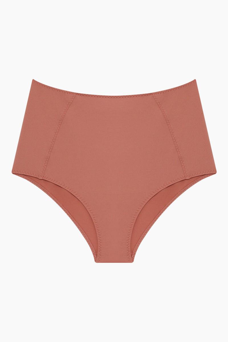 STELLA MCCARTNEY Timeless High Waist Bikini Bottom - Antique Rose Pink Bikini Bottom | Antique Rose Pink| Stella McCartney High Waist Bikini Bottom - Antique Rose Pink High waist  Panel seams Moderate coverage Front View