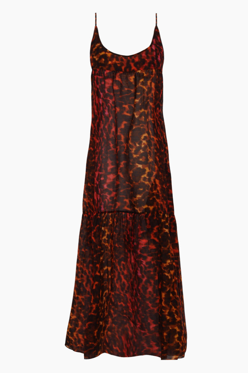 STELLA MCCARTNEY Ballet Spaghetti Strap Cover-Up Maxi Dress - Multicolor Camouflage Print Dress   Multicolor Camouflage Print  Stella McCartney Maxi Dress - Multicolor Camouflage Print Features:  Maxi dress  Scoop neckline Thin straps Ruffle tier detail  Front View