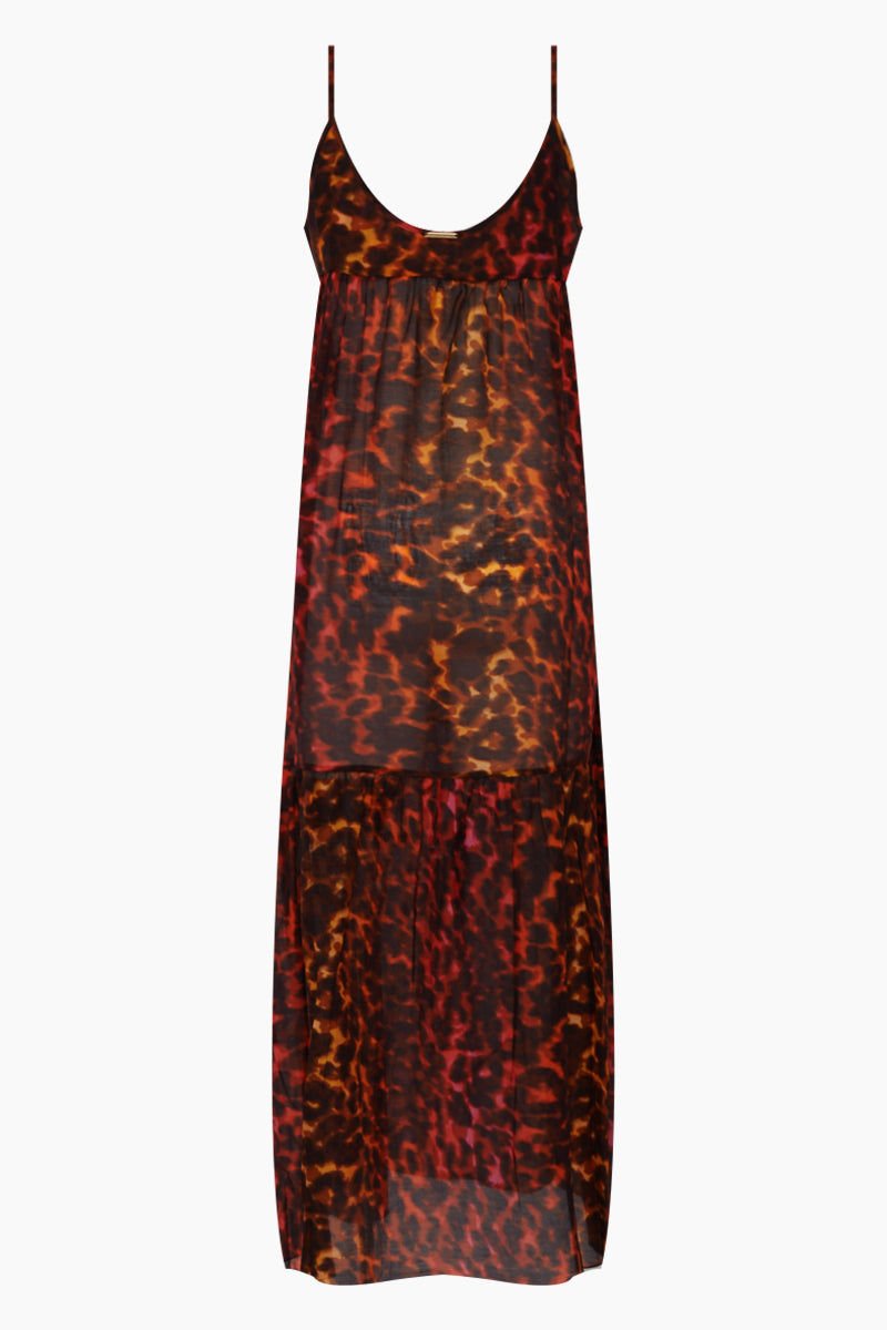STELLA MCCARTNEY Ballet Spaghetti Strap Cover-Up Maxi Dress - Multicolor Camouflage Print Dress   Multicolor Camouflage Print  Stella McCartney Maxi Dress - Multicolor Camouflage Print Features:  Maxi dress  Scoop neckline Thin straps Ruffle tier detail  Back View