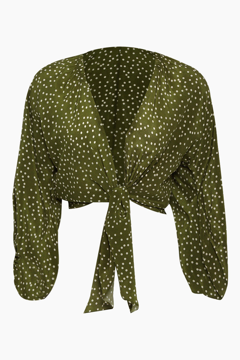 ADRIANA DEGREAS Silk Crepe De Chine Voluminous Sleeves Shirt - Mille Punti Green Dot Print Top   Mille Punti Green Dot Print  Adriana Degreas Silk Crepe De Chine Voluminous Sleeves Shirt - Mille Punti Green Dot Print Features:  Square neckline Pouffy 3/4 sleeves Cropped top Ties at the waist Front View