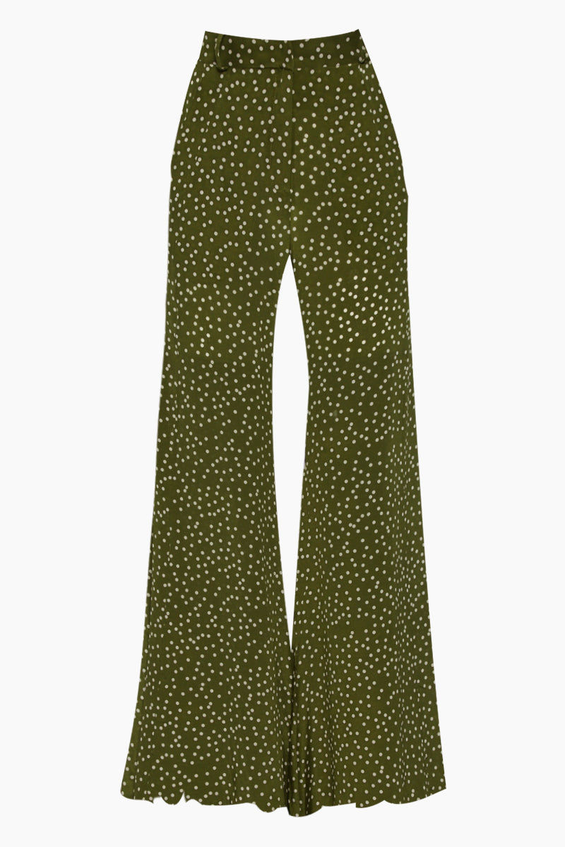 ADRIANA DEGREAS Silk Crepe De Chine Wide Leg Pants - Mille Punti Green Dot Print Pants | Mille Punti Green Dot Print| Adriana Degreas Silk Crepe De Chine Wide Leg Pants - Green Dot Print. Features:  High waisted wide leg pants Perfect for summer days Cut from airy silk Main: 100% silk Front View