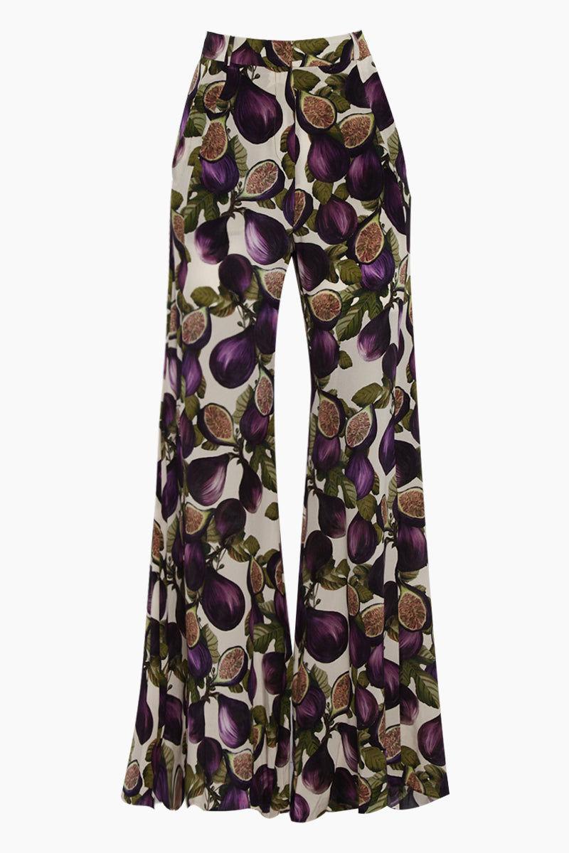 ADRIANA DEGREAS Silk Crepe De Chine Wide Leg Pants - Fig Purple Print Pants | Fig Purple Print| Adriana Degreas Silk Crepe De Chine Wide Leg Pants - Fig Purple Print  Wide leg pants High waist Front View