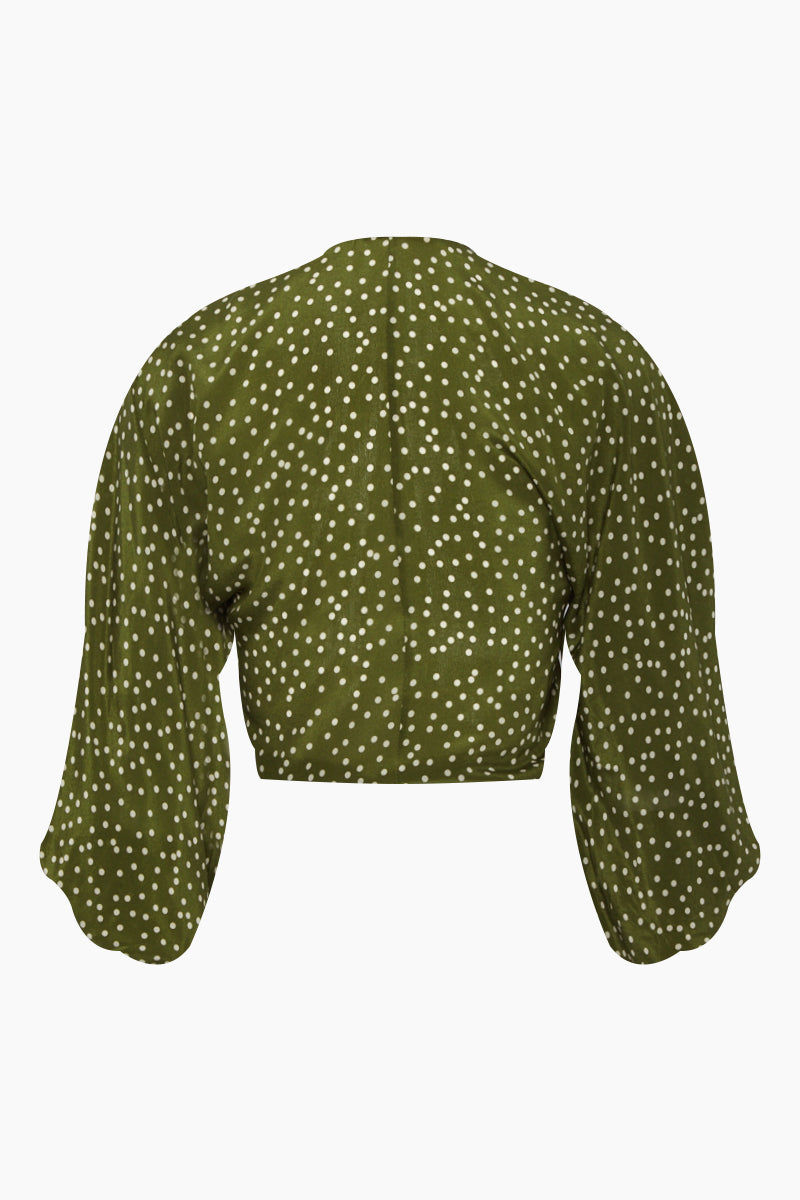 ADRIANA DEGREAS Silk Crepe De Chine Voluminous Sleeves Shirt - Mille Punti Green Dot Print Top   Mille Punti Green Dot Print  Adriana Degreas Silk Crepe De Chine Voluminous Sleeves Shirt - Mille Punti Green Dot Print Features:  Square neckline Pouffy 3/4 sleeves Cropped top Ties at the waist Back View