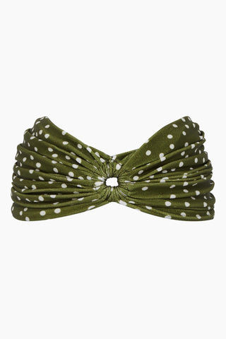 ADRIANA DEGREAS Turban - Mille Punti Army Green Polka Dot Print Hair Accessories | Mille Punti Army Green Polka Dot Print| Adriana Degreas Turban - Mille Punti Green Dot Print. Features:  Crafted from stretch fabric Open in the front Main: 85% Polyamide 15% Spandex Front View