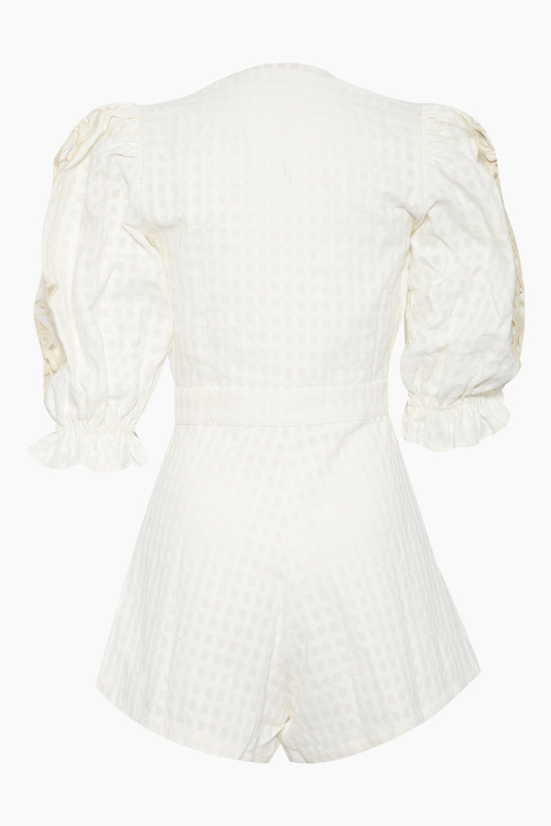 ADRIANA DEGREAS Embroidery Romper - Off White Romper | Off White| Adriana Degreas Embroidery Romper - Off White  Long sleeve romper Plunging neckline Embroidered long sleeve detail  Front tie detail  Back View