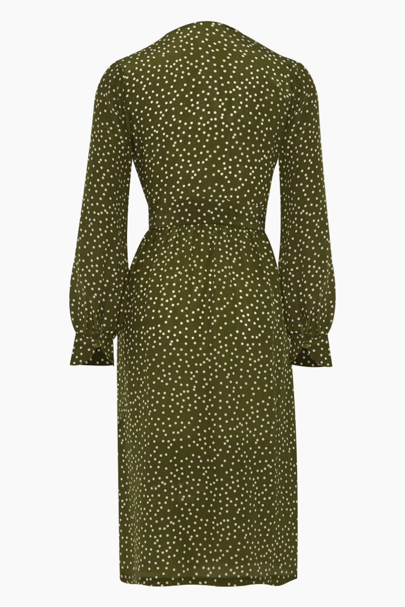 ADRIANA DEGREAS Silk Crepe De Chine Long Cross Front Dress With Shorts - Mille Punti Green Dot Print Dress | Mille Punti Green Dot Print| Adriana Degreas Silk Crepe De Chine Long Cross Front Dress With Shorts - Mille Punti Green Dot Print Long sleeve maxi dress  Wrap style  Shorts included Back View