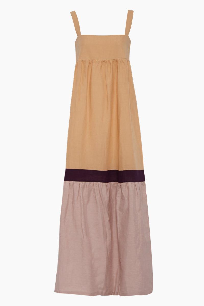 ADRIANA DEGREAS Tricolor Long Dress - Beige/Purple/Lilac Dress | Beige/Purple/Lilac| Adriana Degreas Tricolor Long Dress - Beige/Purple/Lilac Long dress Thick shoulder straps  Tricolor color block   Front View
