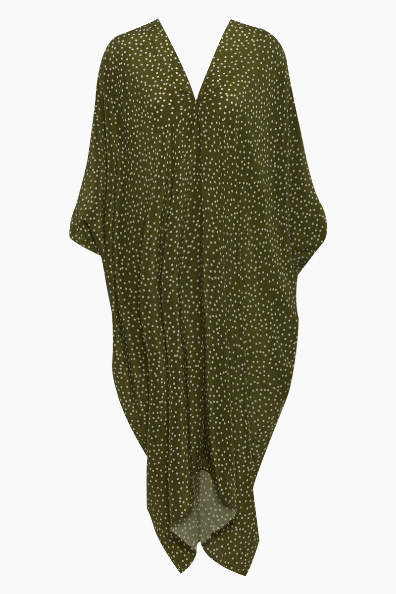 ADRIANA DEGREAS Silk Crepe De Chine Long Kaftan - Mille Punti Green Dot Print Cover Up | Mille Punti Green Dot Print| Adriana Degreas Silk Crepe De Chine Long Kaftan - Mille Punti Green Dot Print Long kaftan V neckline  Flowy sleeves  Cut out back detail  Front View