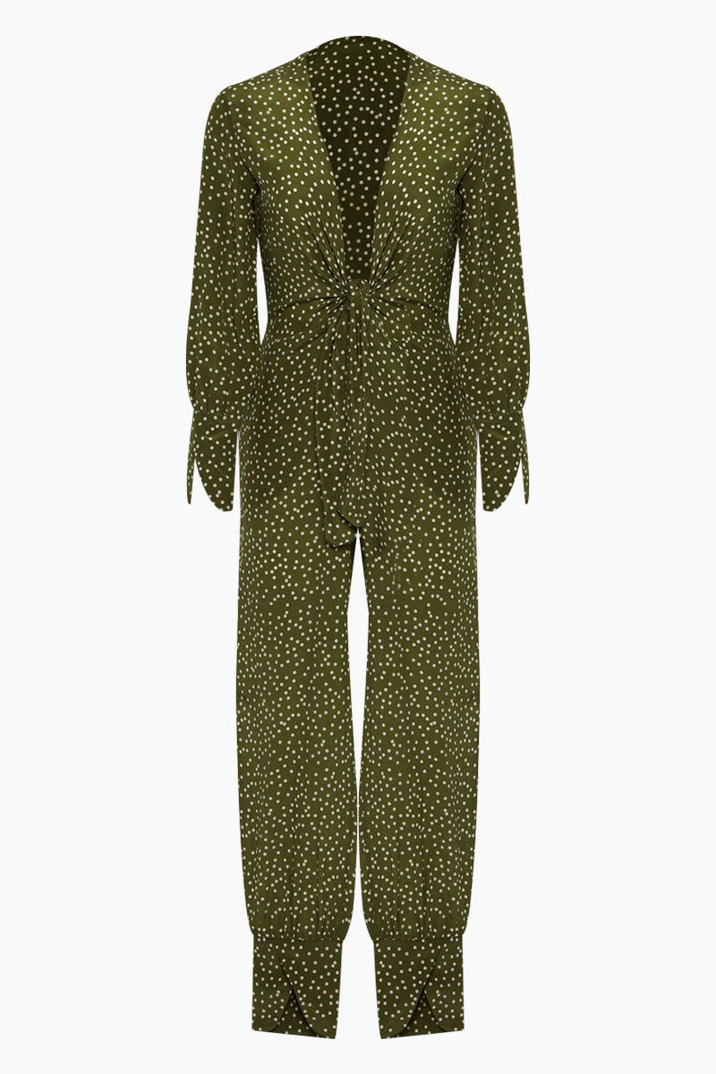 ADRIANA DEGREAS Silk Crepe De Chine Jumpsuit - Mille Punti Green Dot Print Jumpsuit | Mille Punti Green Dot Print| Adriana Degreas Silk Crepe De Chine Jumpsuit - Mille Punti Green Dot Print. Features:  Plunging v neckline Ties at front Long sleeves Main: 100% Silk.   Front View