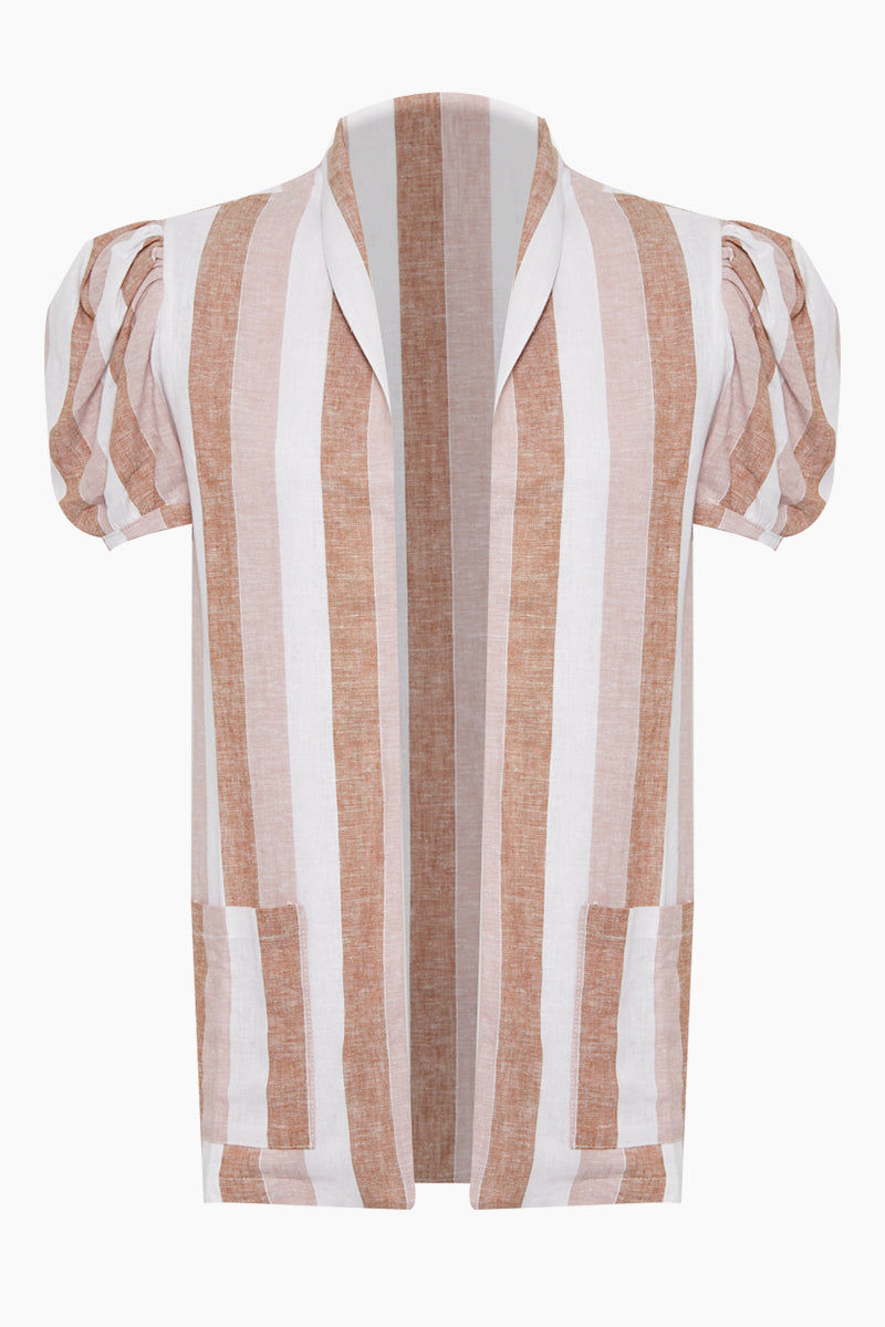 ADRIANA DEGREAS Striped Over Cover Up - Porto Rose Stripe Print Cover Up | Porto Rose Stripe Print| Adriana Degreas Striped Over Cover Up - Porto Rose Stripe Print. Features:  Bell short sleeves Front pockets Main: 100% Cotton. Front View