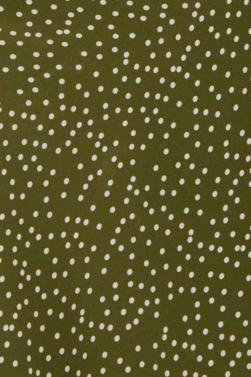 ADRIANA DEGREAS Midi Ruffle Robe - Mille Punti Green Dot Print Cover Up   Mille Punti Green Dot Print  Adriana Degreas Midi Ruffles Robe - Mille Punti Green Dot Print Midi length robe See through Frill hem Front View