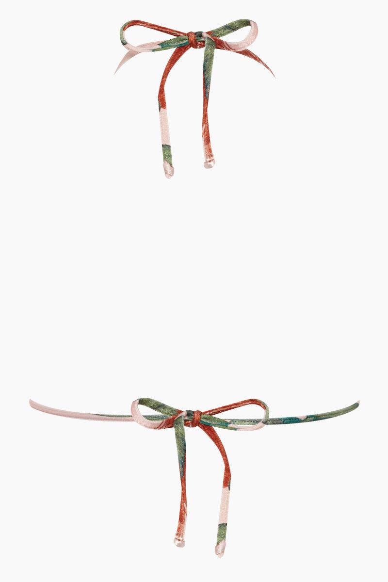ADRIANA DEGREAS Long Triangle Bikini Top - Fiore Rose Stripe Print Bikini Top | Fiore Rose Stripe Print| Adriana Degreas Knot & Tulle Bikini Top - Fiore Rose Print Fixed triangle bikini top in bold floral and mesh striped pattern. Back View