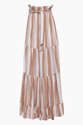 ADRIANA DEGREAS Striped Clochard Long Skirt - Porto Rose Stripe Print Skirt | Porto Rose Stripe Print| Adriana Degreas Striped Clochard Long Skirt - Porto Rose Stripe Print. Features:  high waisted skirt Cut from linen Main: 100% Cotton Front View