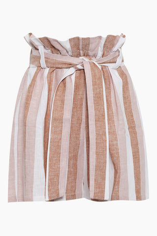 ADRIANA DEGREAS Striped Clochard Shorts - Porto Rose Stripe Print Shorts | Porto Rose Stripe Print| Adriana Degreas Striped Clochard Shorts - Porto Rose Stripe Print. Features:  Adjustable waist tie Relaxed fit Side pockets Main: 100% Cotton Front View