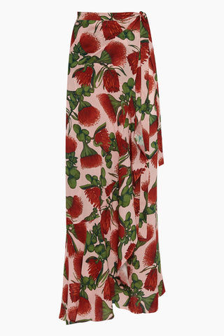ADRIANA DEGREAS Pareo Ruffle Skirt - Fiore Rose Print Skirt | Fiore Rose Print| Adriana Degreas Pareo Ruffle Skirt - Fiore Rose Print. Features:  High rise long skirt Cut from lightweight viscose Knot tie closure Wrap-around style Main: 100% Silk. Front View