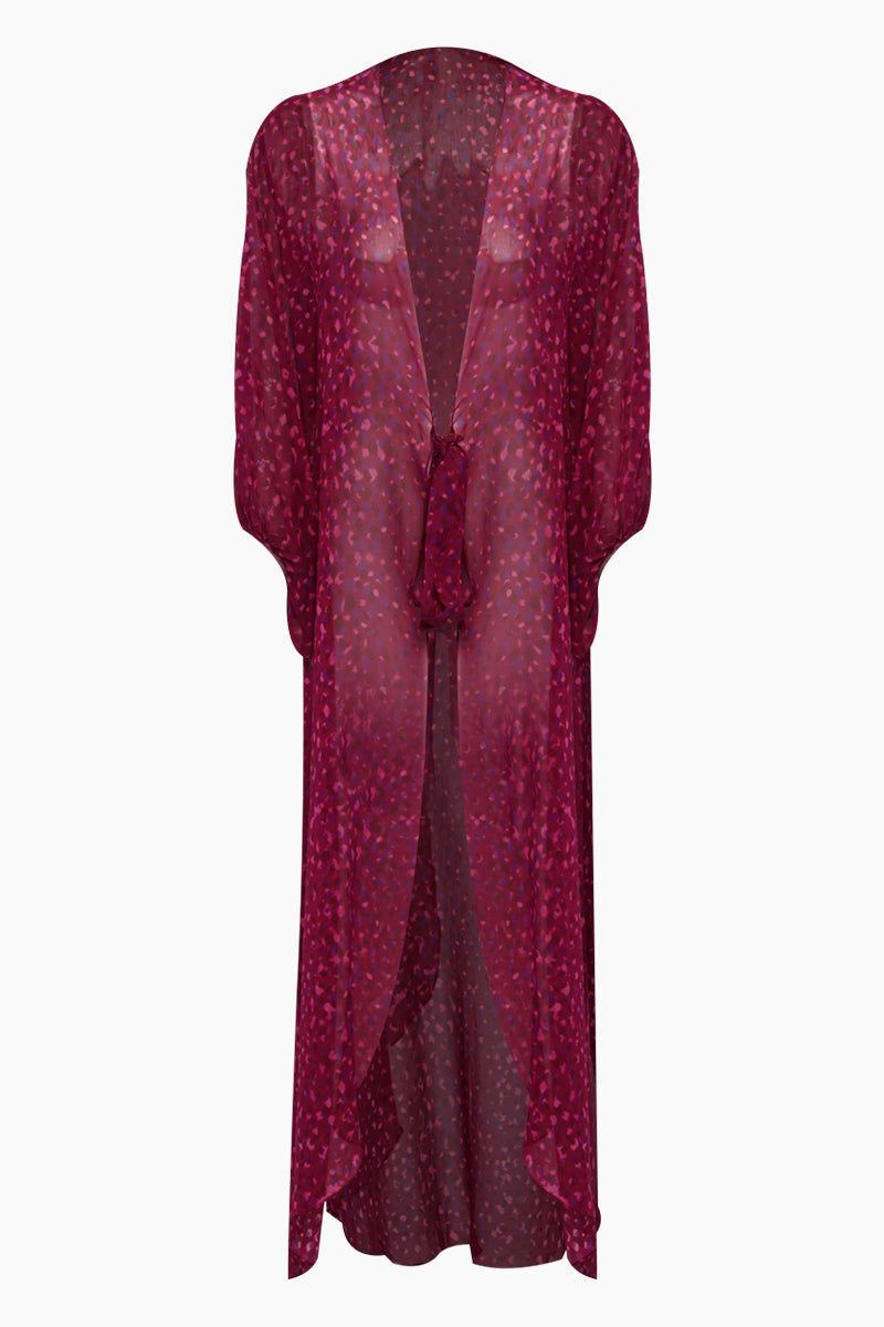 ADRIANA DEGREAS Silk Georgette Long Robe Cover-Up - Pomegranate Pink Print Cover Up | Pomegranate Pink Print| Adriana Degreas Silk Georgette Long Robe - Pomegranate Pink Print. Features:  Open robe with front ties Voluminous sleeves Main: 100% Silk. Front View