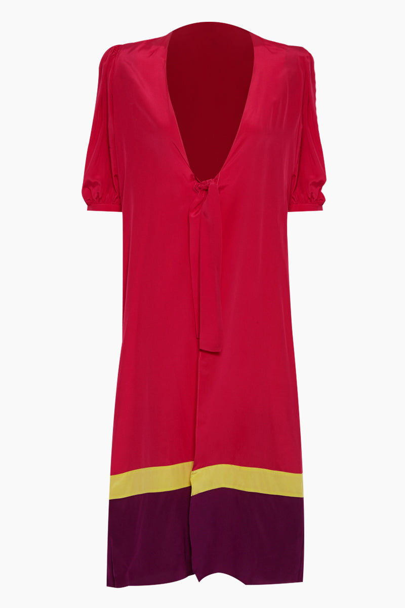 ADRIANA DEGREAS Silk Crepe De Chine Tricolor Midi Robe - Hot Pink/Citronelle/Purple Cover Up | Hot Pink/Citronelle/Purple| Adriana Degreas Silk Crepe De Chine Tricolor Midi Robe - Hot Pink/Citronelle/Purple. Features: Features:  Lightweight silk robe Designed for a cool, breezy feel Midi silk robe with long sleeve and gathered cuffs Waist tie to define the silhouette Unlined Main: 100% silk. Front View