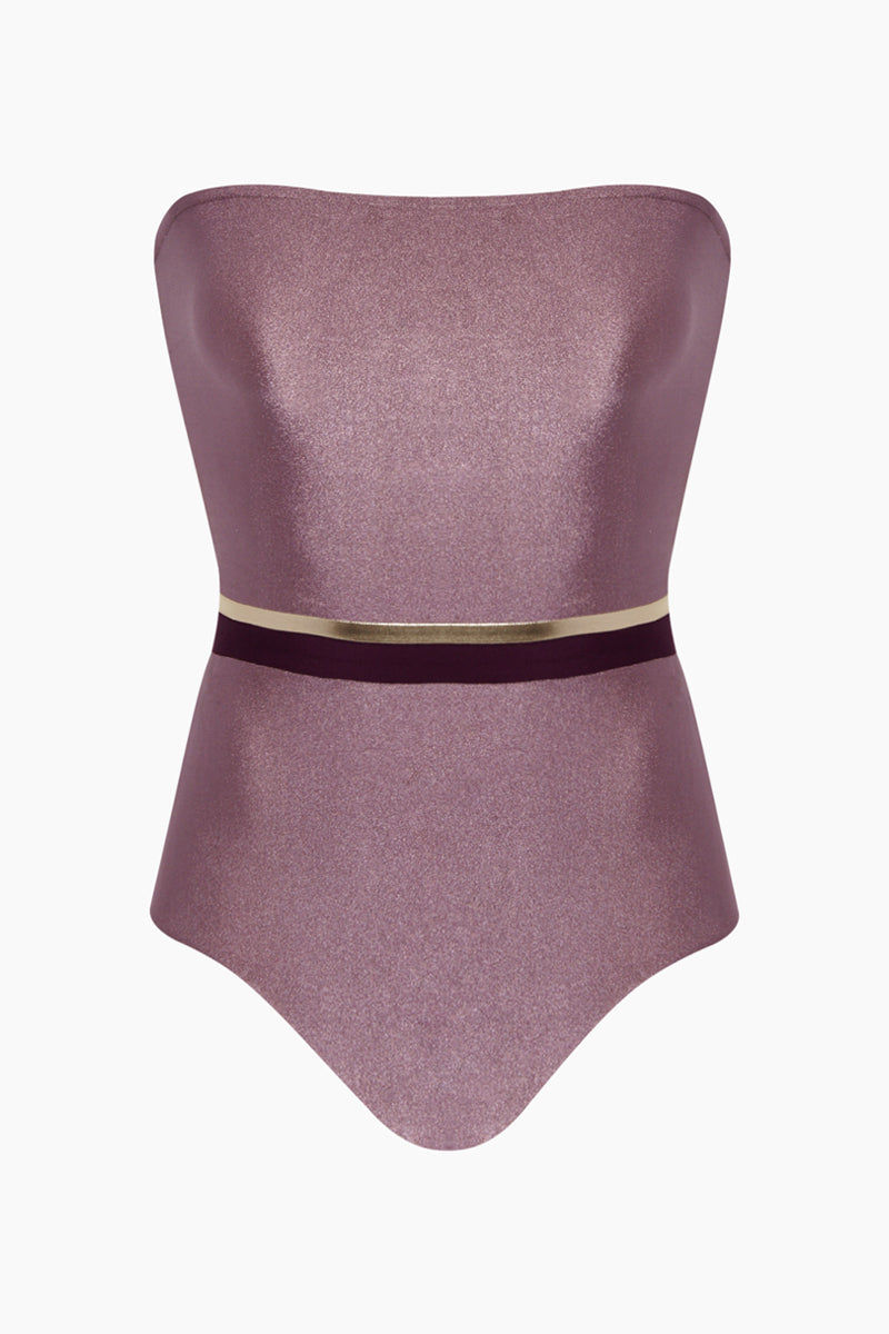 ADRIANA DEGREAS Strapless One Piece Swimsuit - Tricolor Lilac/Purple/Gold One Piece | Tricolor Lilac/Purple/Gold| Adriana Degreas Tricolor Strapless One Piece Swimsuit - Lilac/Purple/Gold Strapless one piece  Metallic tricolor center band detail  Full coverage Front View