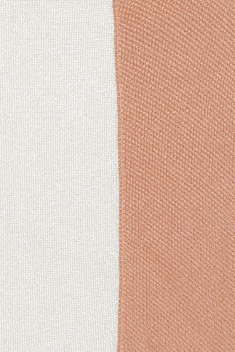 ADRIANA DEGREAS Halter Triangle Bikini Top - Rose Pink/Off White Stripe Print Bikini Top | Rose Pink/Off White Stripe Print| Adriana Degreas Striped Triangle Bikini Top - Rose Pink/Off White Stripe Print. Features:  Classica Triangle bikini top Adjustable halter ties Removable padding Main: 84% Polyamide 16% Spandex Front View