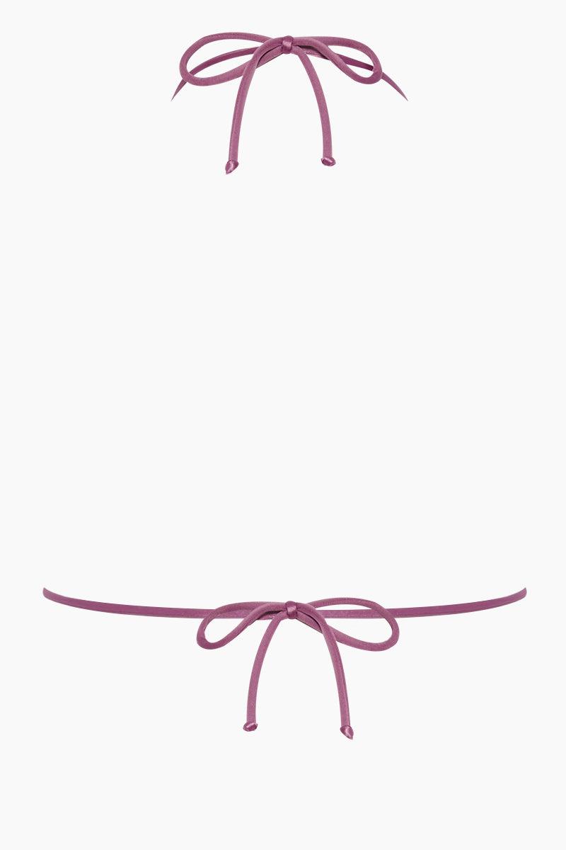 ADRIANA DEGREAS Halter Triangle Bikini Top - Lilac Purple Bikini Top | Lilac Purple| Adriana Degreas Triangle Tie Bikini Top - Lilac Purple. Features:  Classic triangle top bikini Adjustable halter neck ties Main: 84% polyamide, 16% spandex Back View