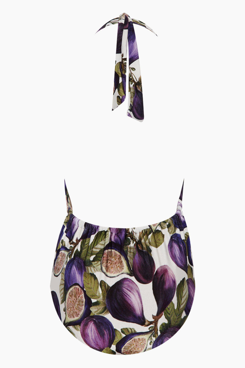 ADRIANA DEGREAS Plunging Halter Neck One Piece Swimsuit - Fig Purple Print One Piece   Fig Purple Print  Adriana Degreas Knotted Halter Neck One Piece Swimsuit - Fig Purple Print. Features:  Plunging neckline Adjustable halter neck ties Pin-up styles from 1950s Cut from soft stretch fabric Medium coverage   Back view