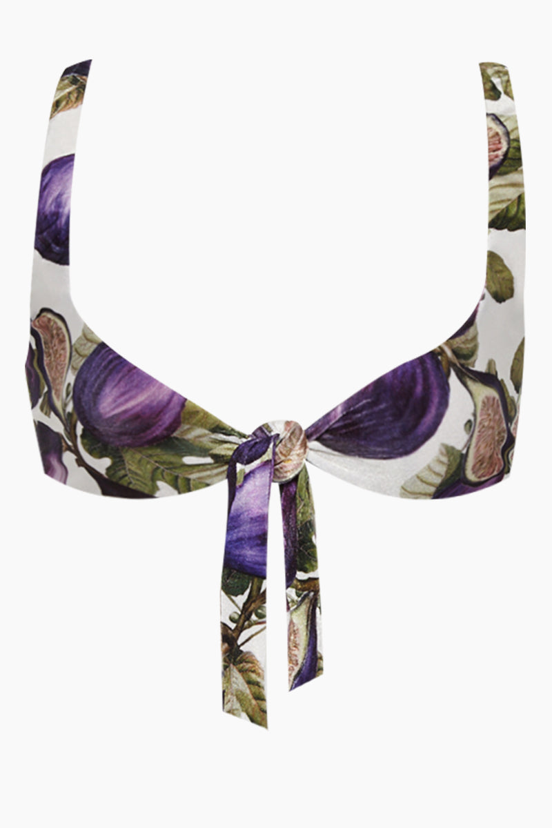 ADRIANA DEGREAS Knot Front Bikini Top - Fig Purple Print Bikini Top | Fig Purple Print| Adriana Degreas Knot Front Bikini Top - Fig Purple Print Scoop neckline Bralette style Knot front detail  Thick shoulder straps Front View